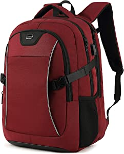 Travel Laptop Backpack, Drop Protection Computer Backpacks Durable Hiking Work Business Daypack Water Resistant Schoolbag with USB Charging Port, Gifts for Men Women Boys Girls fits 15.6 Inch Laptops(15.6 Inch, Red)