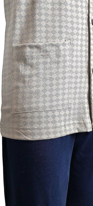 Pantalone in Tinta Unita Giacca Scollo a V Aperta avanti e Tasche KISENE Pigiama da Uomo in Cotone Due Pezzi