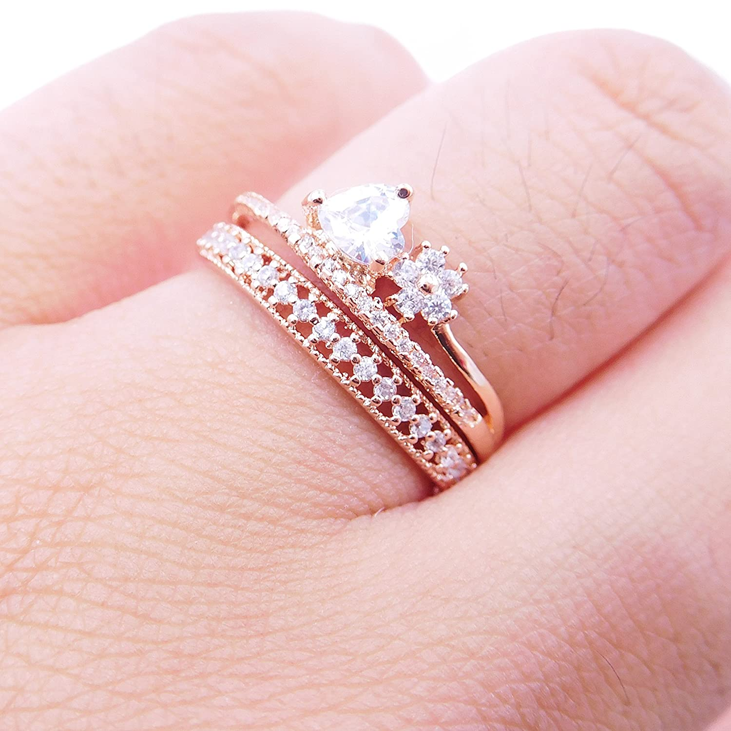Amazon.com: 14K Dainty and Delicate Excelsia Pave Cubic Zirconia ...
