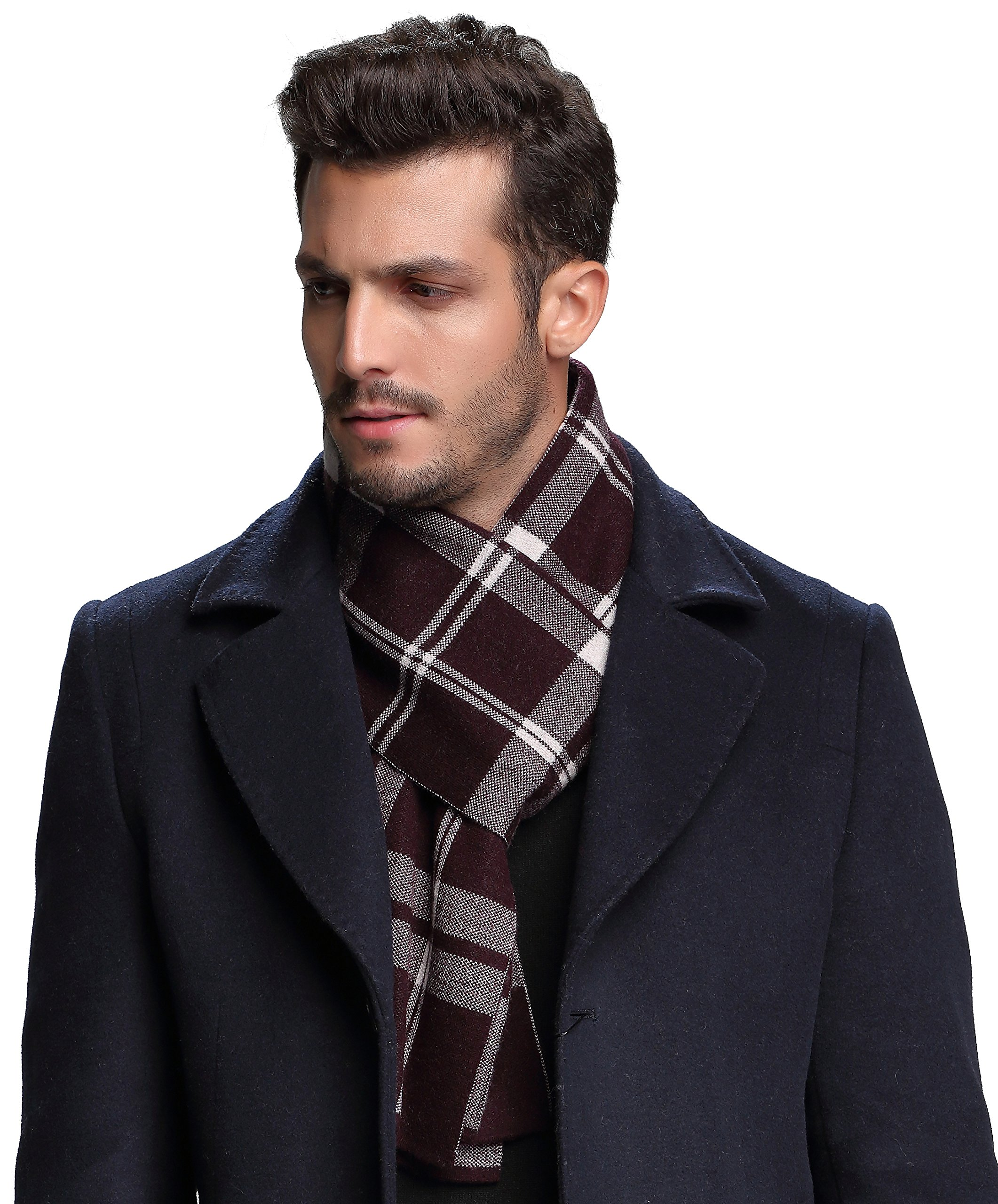 Ellettee, 100% Australian Wool Men Scarf Classic Knitted Long NeckwearStripe Plaid Scarves (Plaid CoffeeWhite)
