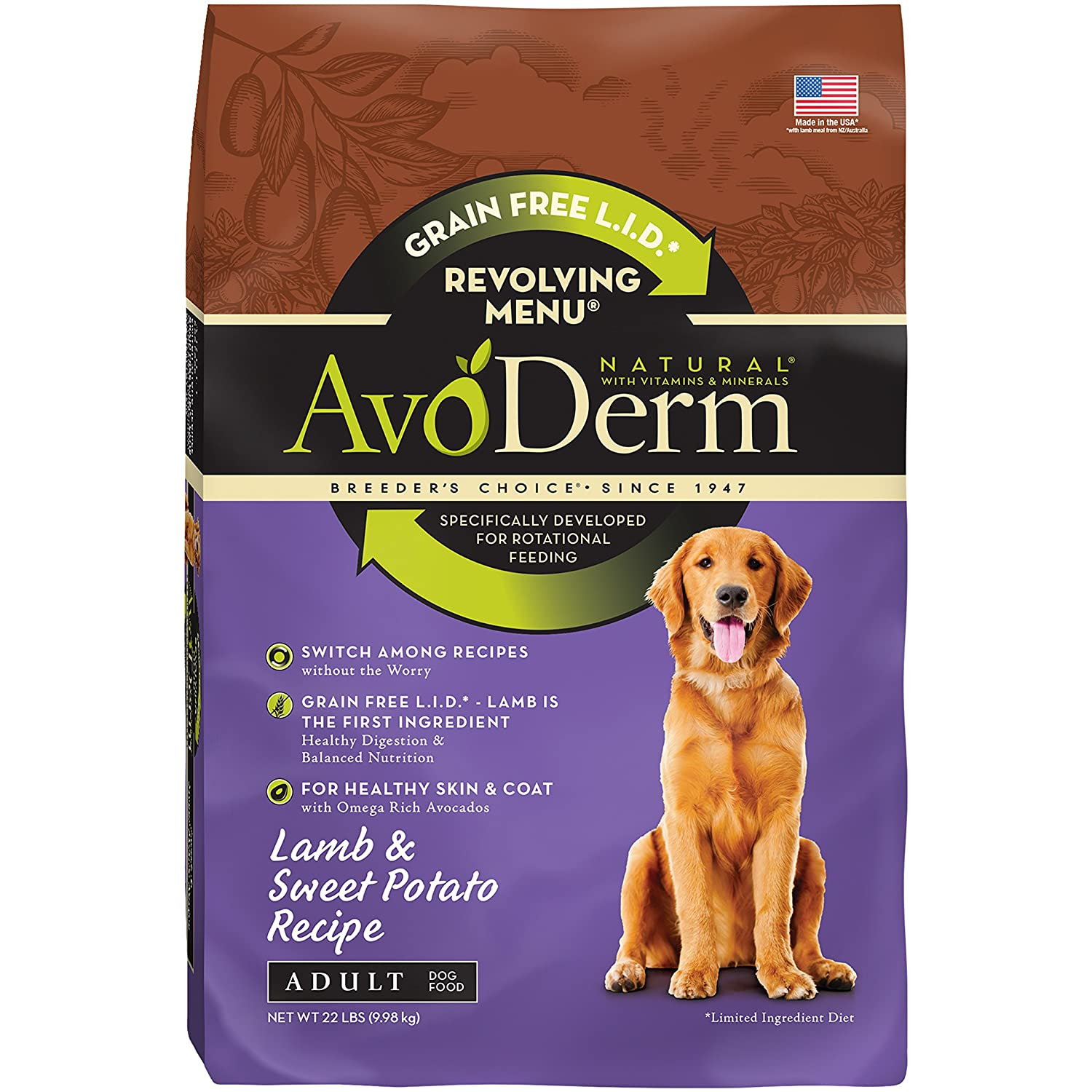 AvoDerm Natural Revolving Menu Dry Dog Food for Rotational Feeding, Food Intolerance and Sensitivities, Lamb Sweet Potato