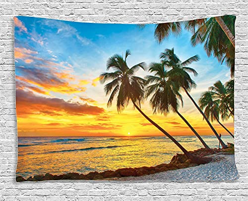 Ambesonne Ocean Tapestry, Fairy Sunset over Sea with the Palms on the Beach at a Caribbean Island in Barbados, Wall Hanging for Bedroom Living Room Dorm, 80 X 60 Inches, Multicolor