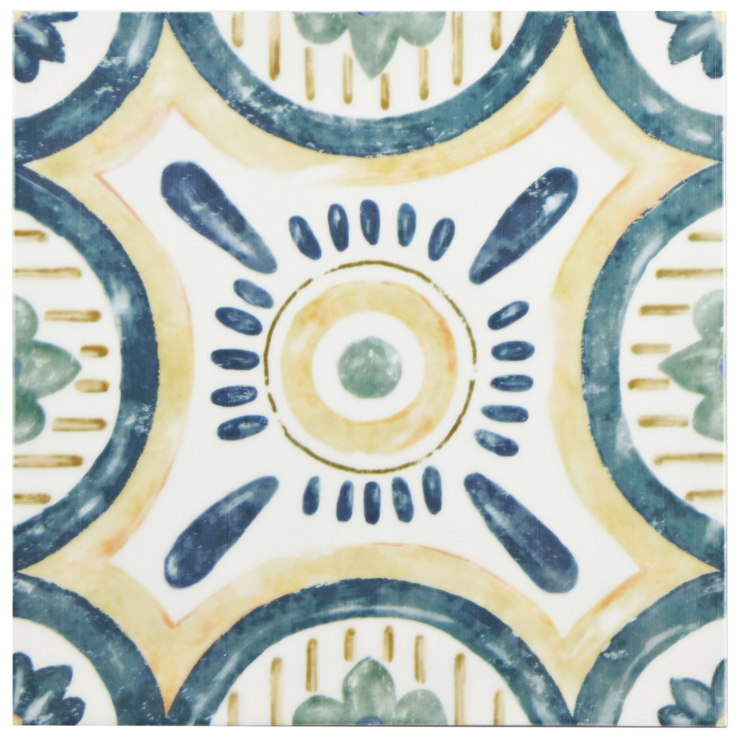 SomerTile 7.875'' x 7.875'', White/Green/Blue/Yellow WAEBOUIS Loire Ceramic Wall Tile, 7.75'' x 7.75'', Isola