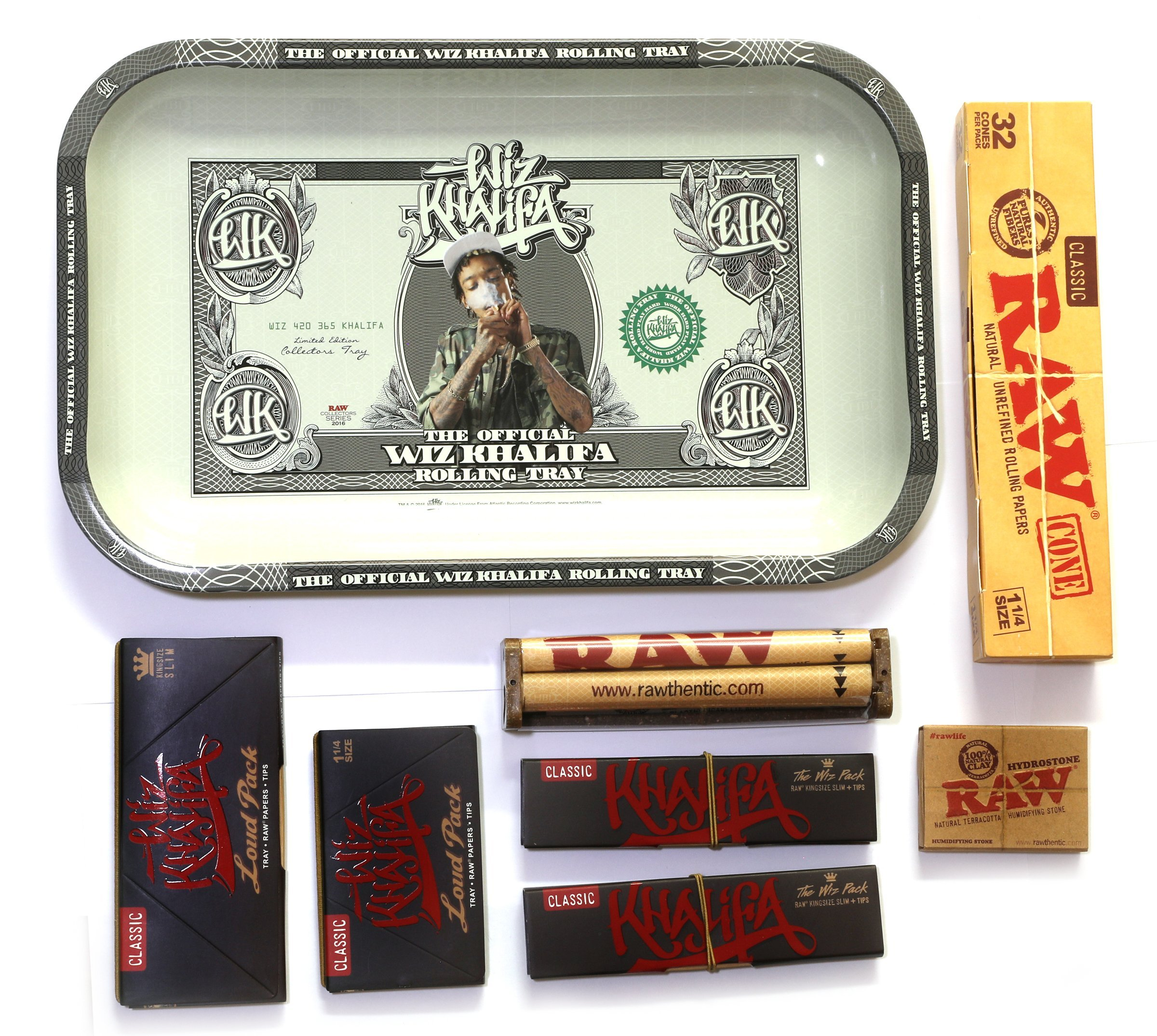 RAW WIZ KHALIFA Rolling TRAY Set + LOUD PACK + ROLLER + PAPER + Tips + 24 CONES