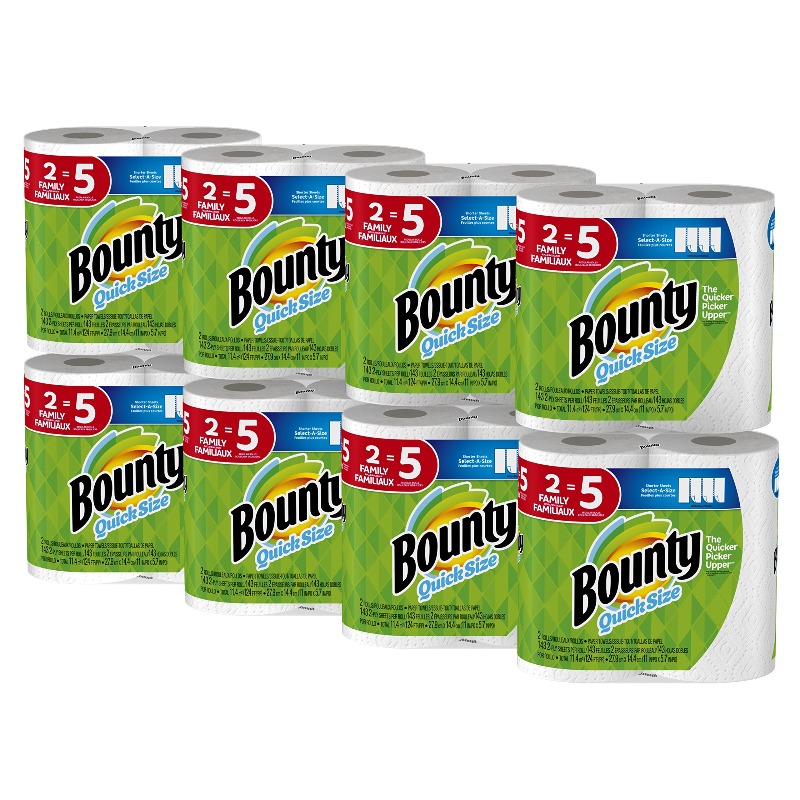 Bounty Quick-Size Paper Towels, Family Rolls, White