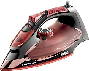 Eureka Razor Powerful Steam Iron Burst, Non-Stick Ceramic SolePlate with 3 Way Auto-Shut Off, and Anti Drip Super Hot 1500 Watt Iron in Marsala Pouch Included …