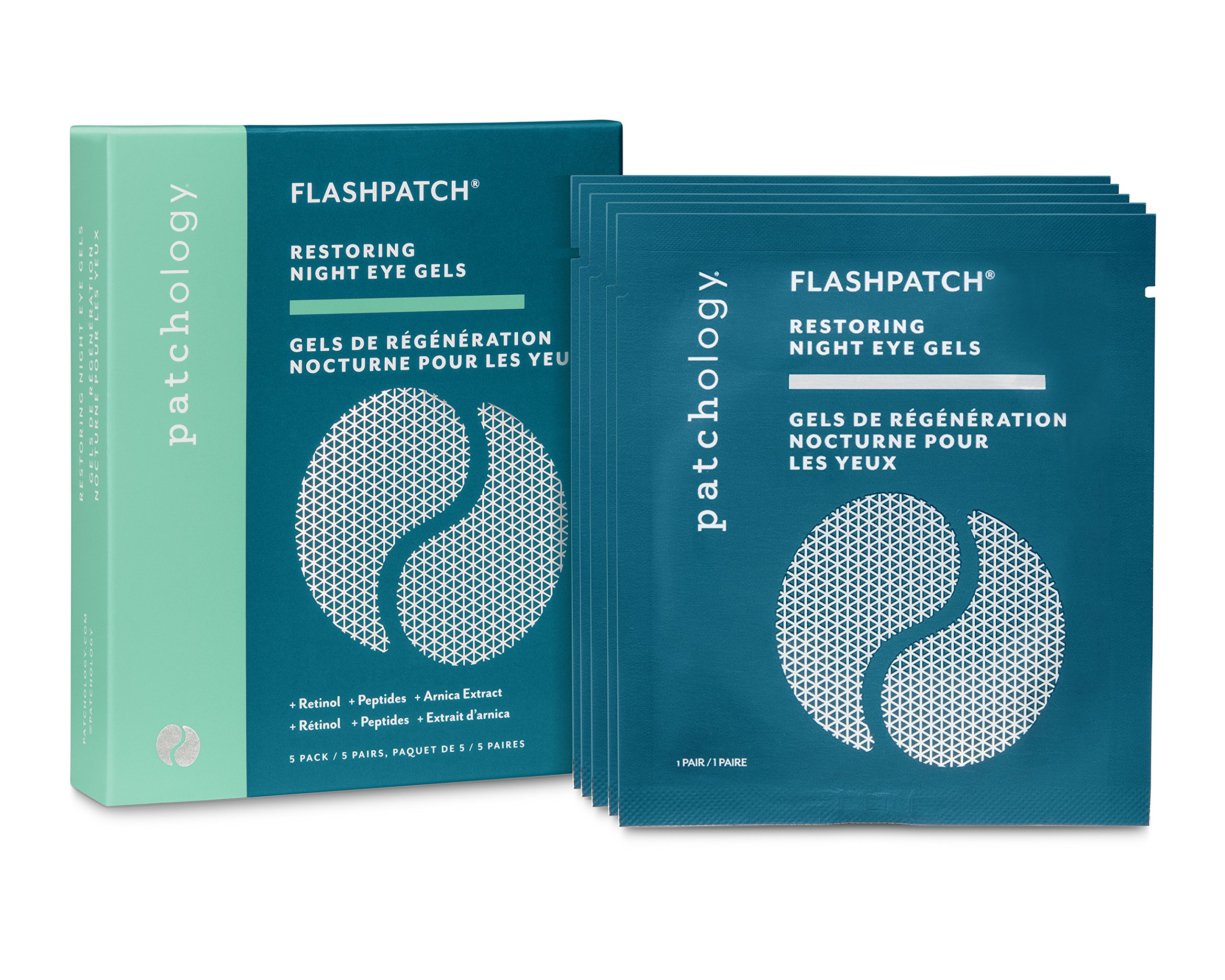 Patchology FlashPatch Restoring Night Eye Gels for Dark Circles, Fine Lines - w/ Retinol, Peptides, Arnica, Squalane - 5 Pairs/ Box by Patchology