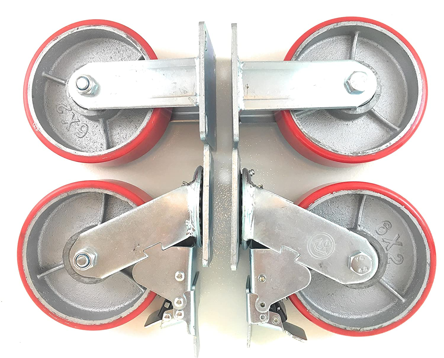 """6"""" x 2"""" Heavy Duty Metal CASTERS with Poly Tread - Set of 4 Wheels, 2 Fixed, 2 Swivel w/Brakes - Swivel Casters are Locking - Foghorn Construction"""