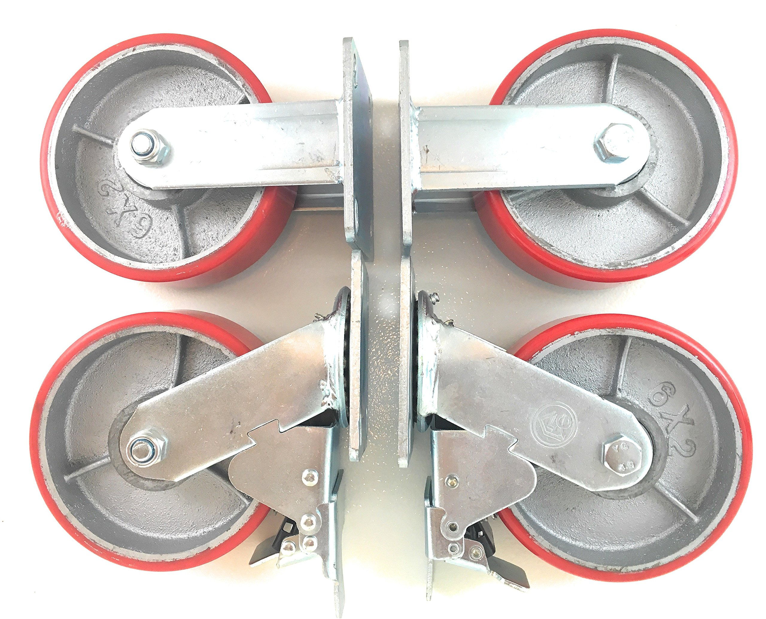 6'' x 2'' Heavy Duty Metal CASTERS with Poly Tread - Set of 4 Wheels, 2 Fixed, 2 Swivel w/Brakes - Swivel Casters are Locking - Foghorn Construction by Foghorn Construction