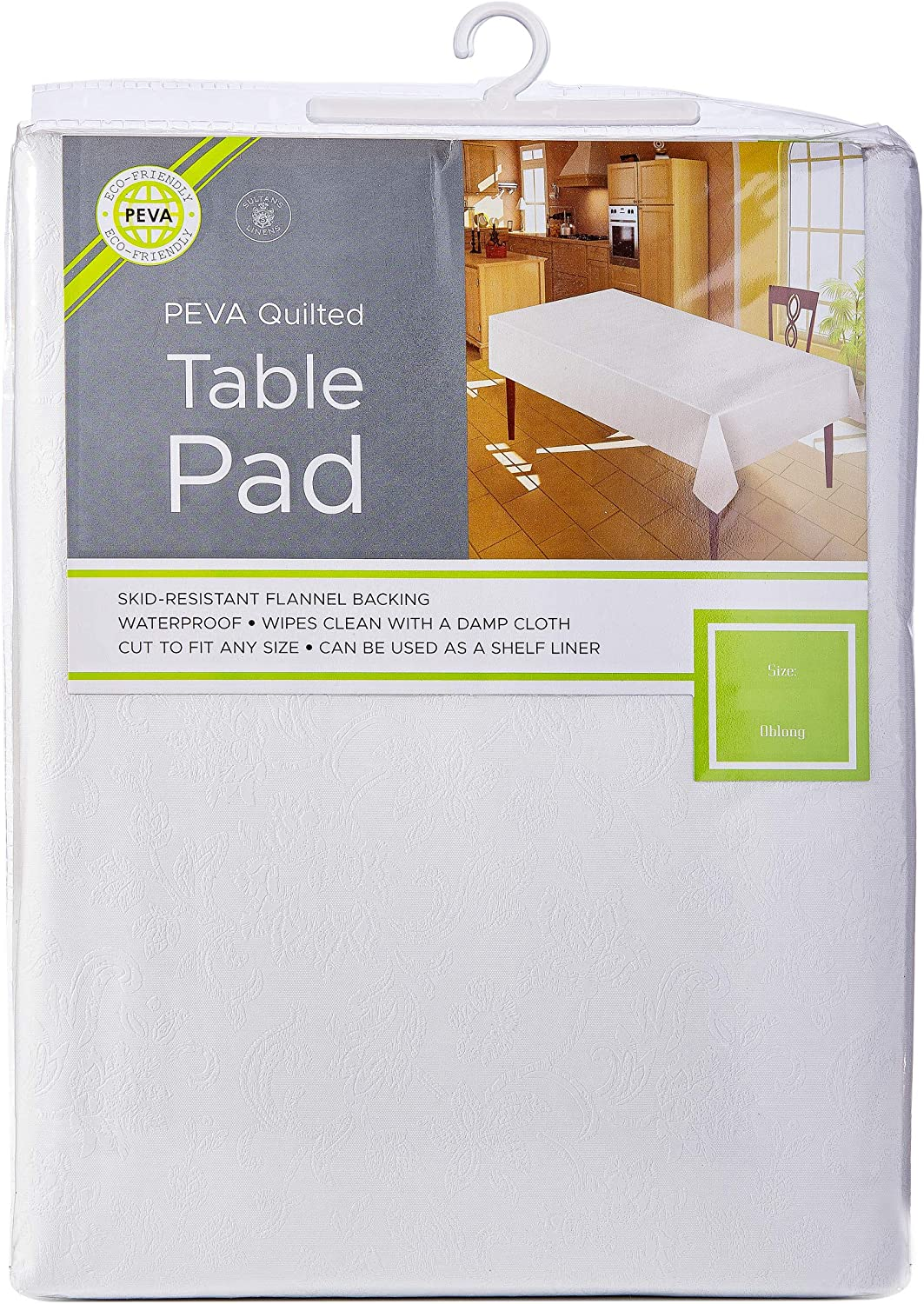 Sultan's Linens Eco-Friendly Peva Table Pad Waterproof Surface with Flannel Backing Floral (104-inch)