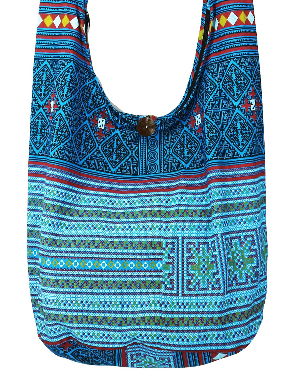 Lovely Creations's Hippie Boho New Elephant Crossbody Bohemian Gypsy Sling Bag Shoulder Bag Large Size (Hmong Blue)