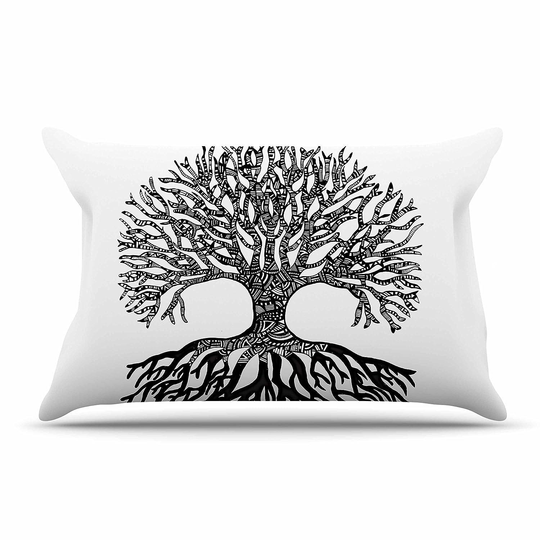 30 by 20-Inch 30 X 20 Kess InHouse Adriana De Leon The Tree of Life Black White Standard Pillow Case