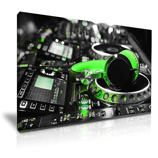 Tocadiscos DJ Mix Auriculares Impresión de Lienzo 76 cm x 50 ...