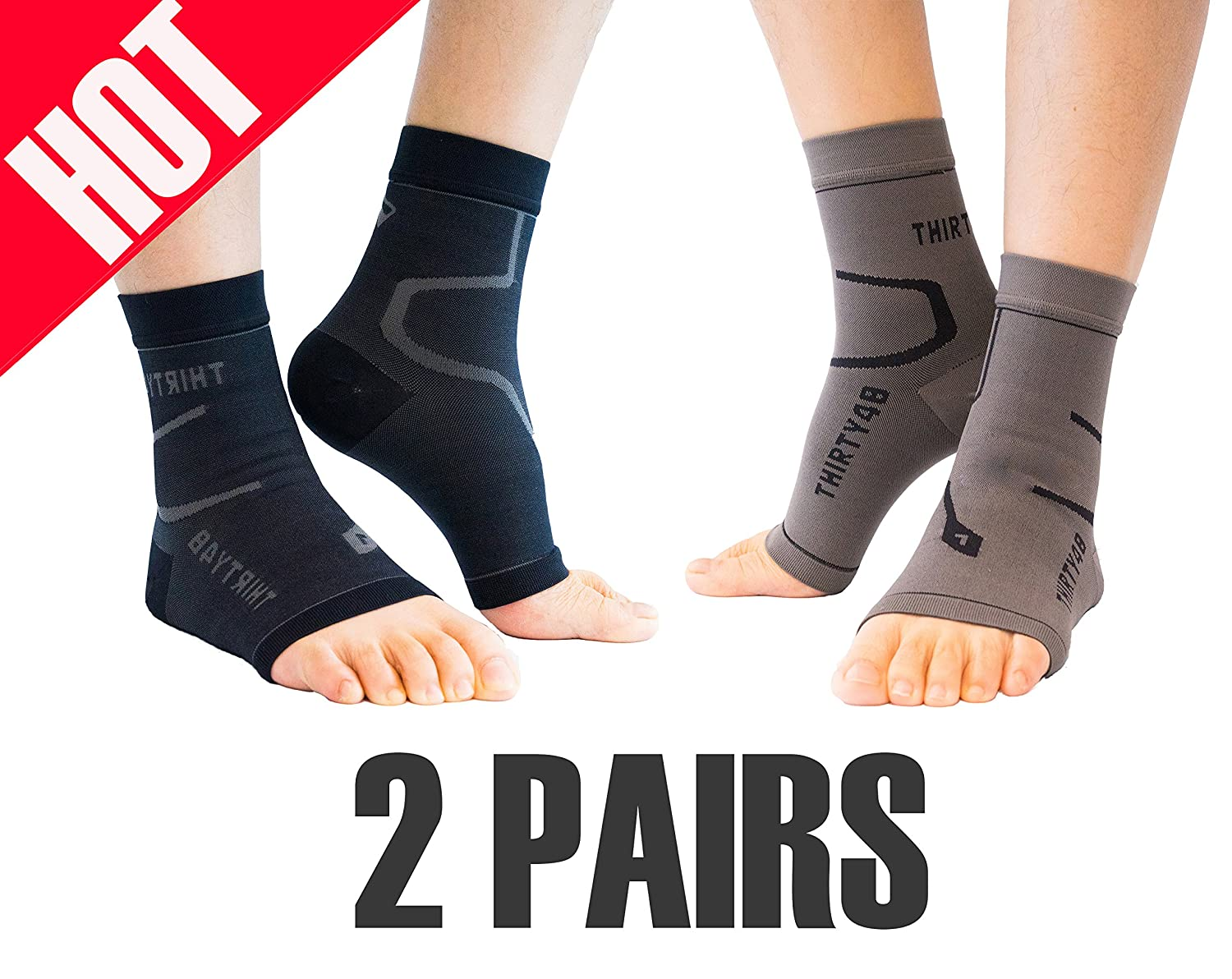 Thirty48 FC4BKGPKG-2PK Socks, 20-30 mmHg Foot Sleeves for Ankle/Heel Support, 2 Pairs, X-Large, Black/Gray