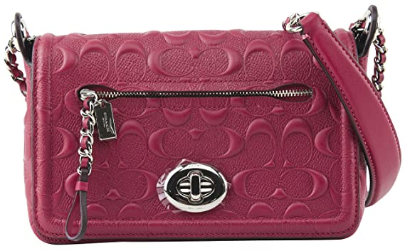 d3b80e4bf4 Image Unavailable. Image not available for. Color  Coach Women s Lex Flap  SV Hot Pink Signature Patent Leather Cross Body Bag ...