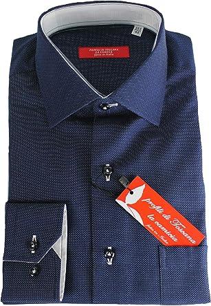 Perfiles de Toscana. Camisa de Hombre clásica, Art. Pienza, elaboración Artesanal, Fabricada en Italia: Amazon.es: Ropa y accesorios