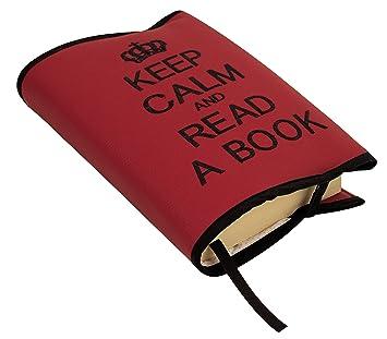 Funda protectora para libros de papel y agendas en ecopiel. Protege del deterioro, polvo y suciedad. Rojo/negro. 100% fabricado en españa.