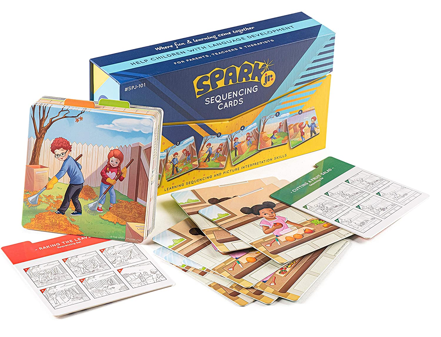 Spark Cards Jr Basic Sequence Cards for Storytelling and Picture Interpretation Speech Therapy Game, Special Education Materials, Sentence Building, Problem Solving, Improve Language Skills