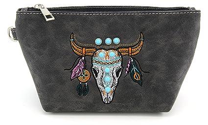 4ca1f9900898 Amazon.com: Cute Medium Zip Travel Cosmetic Bag Longhorn Rhinestone ...