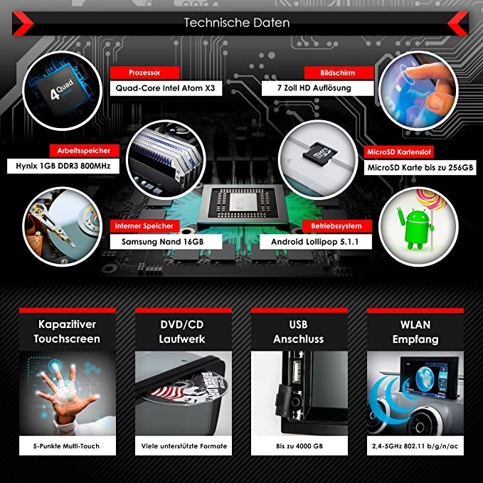 Autoradio Android CREATONE AMG-3030   2DIN Naviceiver  : Amazon.de ...