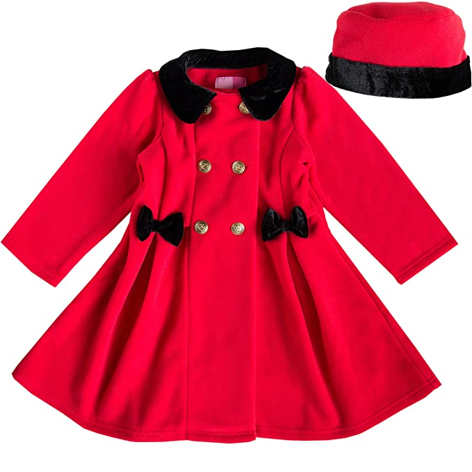 9e3234be5823 Amazon.com  Good Lad Red Double Breasted Bow Coat with Gold Buttons ...