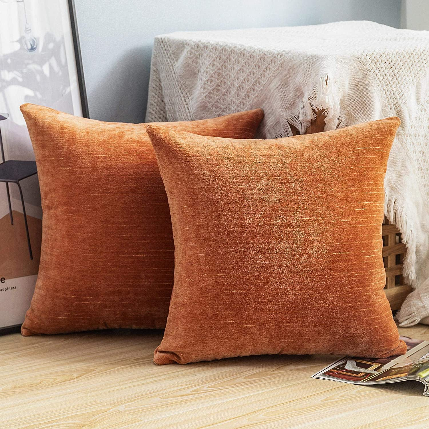 Lipo Thick Chenille Pillow Covers 20x20- Set of 2 Decorative Euro Throw Pillows Cover, Soft Cushion Case, Home Decor Rustic Farmhouse for Couch, Bed, Sofa, Bedroom, Car (Orange, 20X20 Inch)