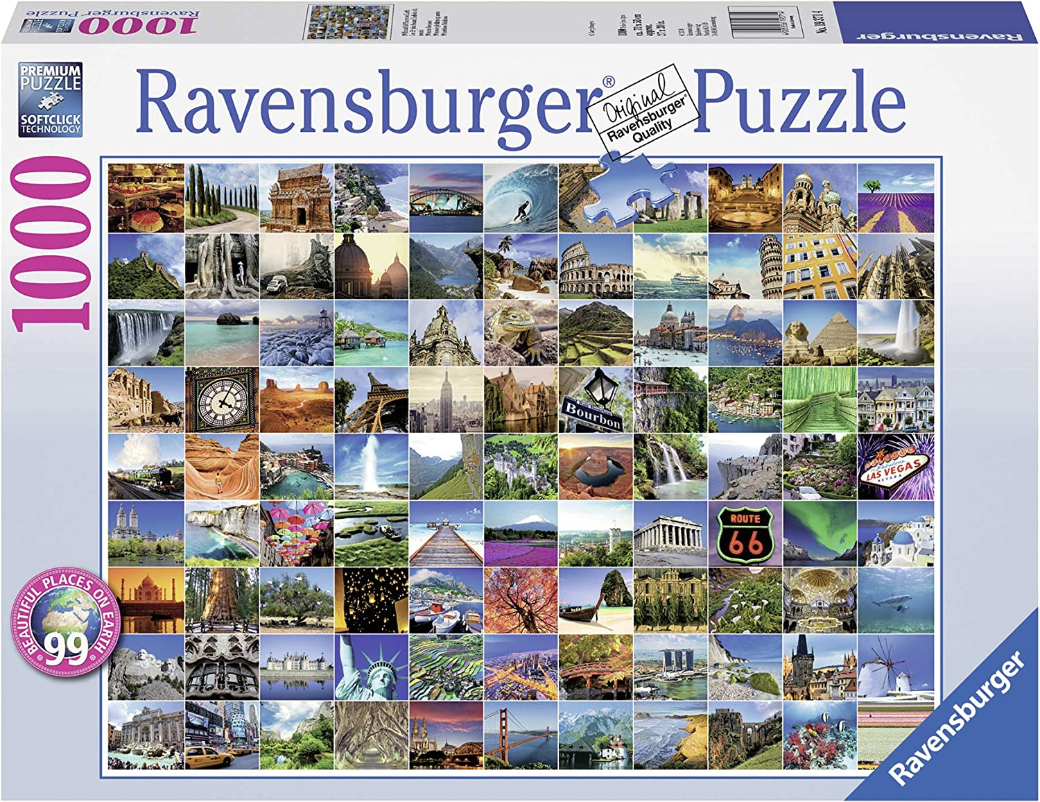 Ravensburger 99 Beautiful Places on Earth 1000 Piece Jigsaw Puzzle for Adults – Every piece is unique, Softclick technology Means Pieces Fit Together Perfectly