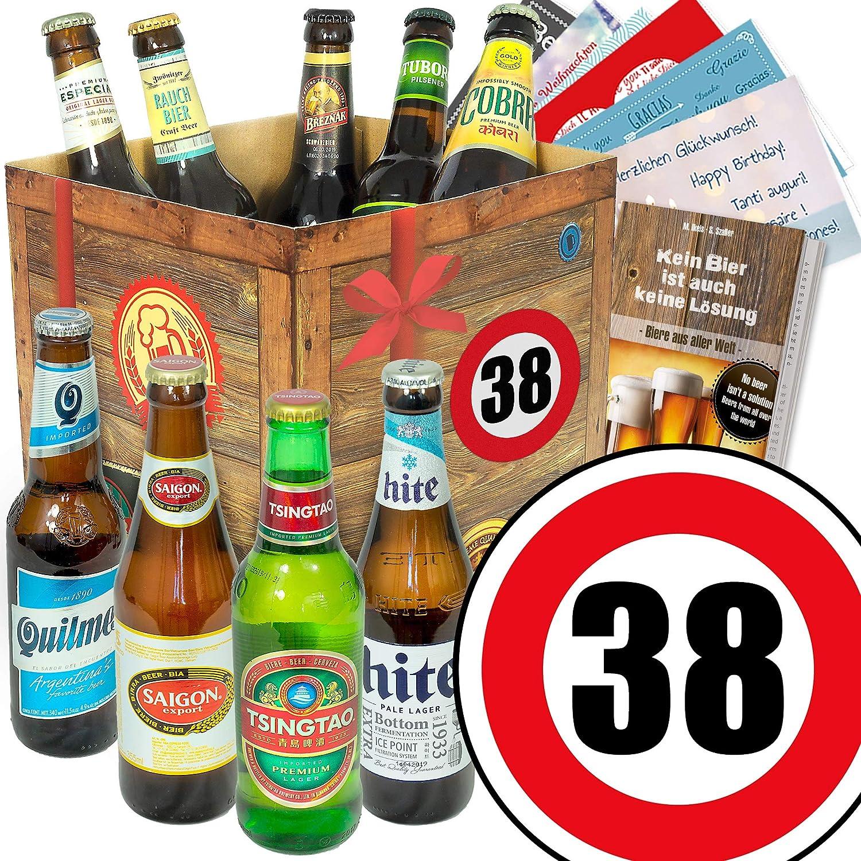 Geburtstagsgeschenke für Männer zum 38. - Bier Geschenk Box mit Bieren der Welt + gratis Bierbuch + Geschenk Karten + Bier - Bewertungsbogen Bierset + Bier Geschenk + Personalisierte Geschenk-Box - 38 + Bier Geschenke Geschenkideen. Besser als Bier selber