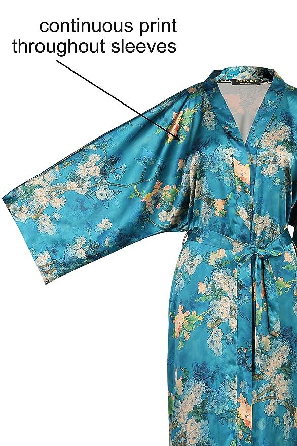 BABEYOND Womens Kimono Robe Long Floral Wedding Robes For Bridesmaids Satin Silk Kimono Nightgown Sleepwear 52