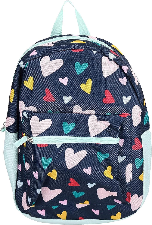 Wonder Nation Girls Kids Preschool Kindergarten School Backpack Navy with Multi-colored Hearts