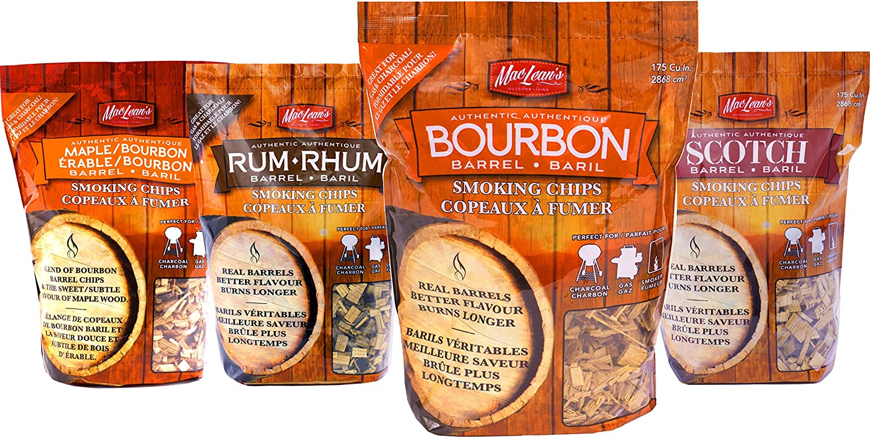 MacLean's Outdoor Barbecue Liquor Barrel Smoking Chips, One bag BBQ Smoker Wood. (Bourbon Barrel) MacLean' s Outdoor
