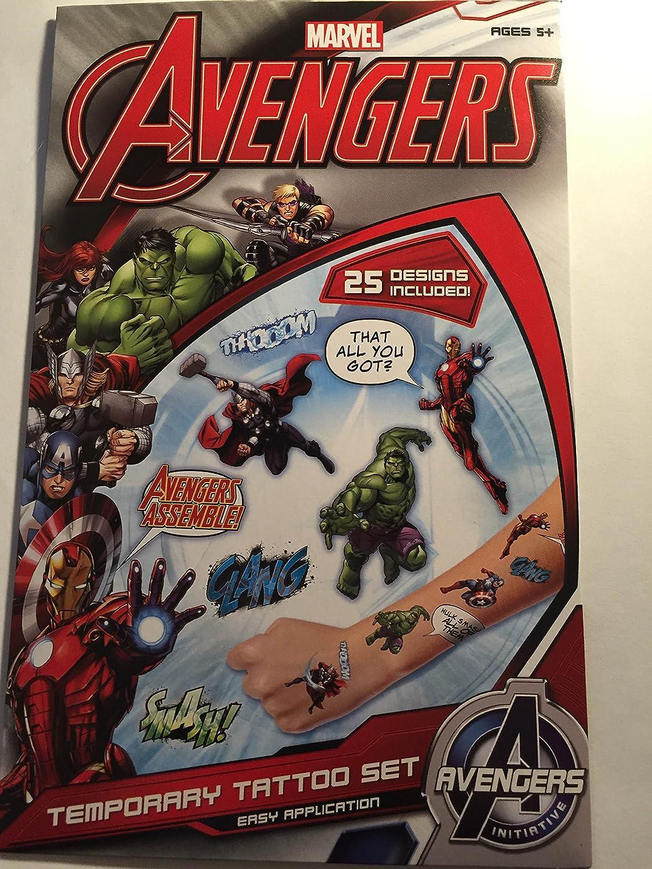 Marvel Avengers Temporary Tattoo Set by Marvel: Amazon.es ...