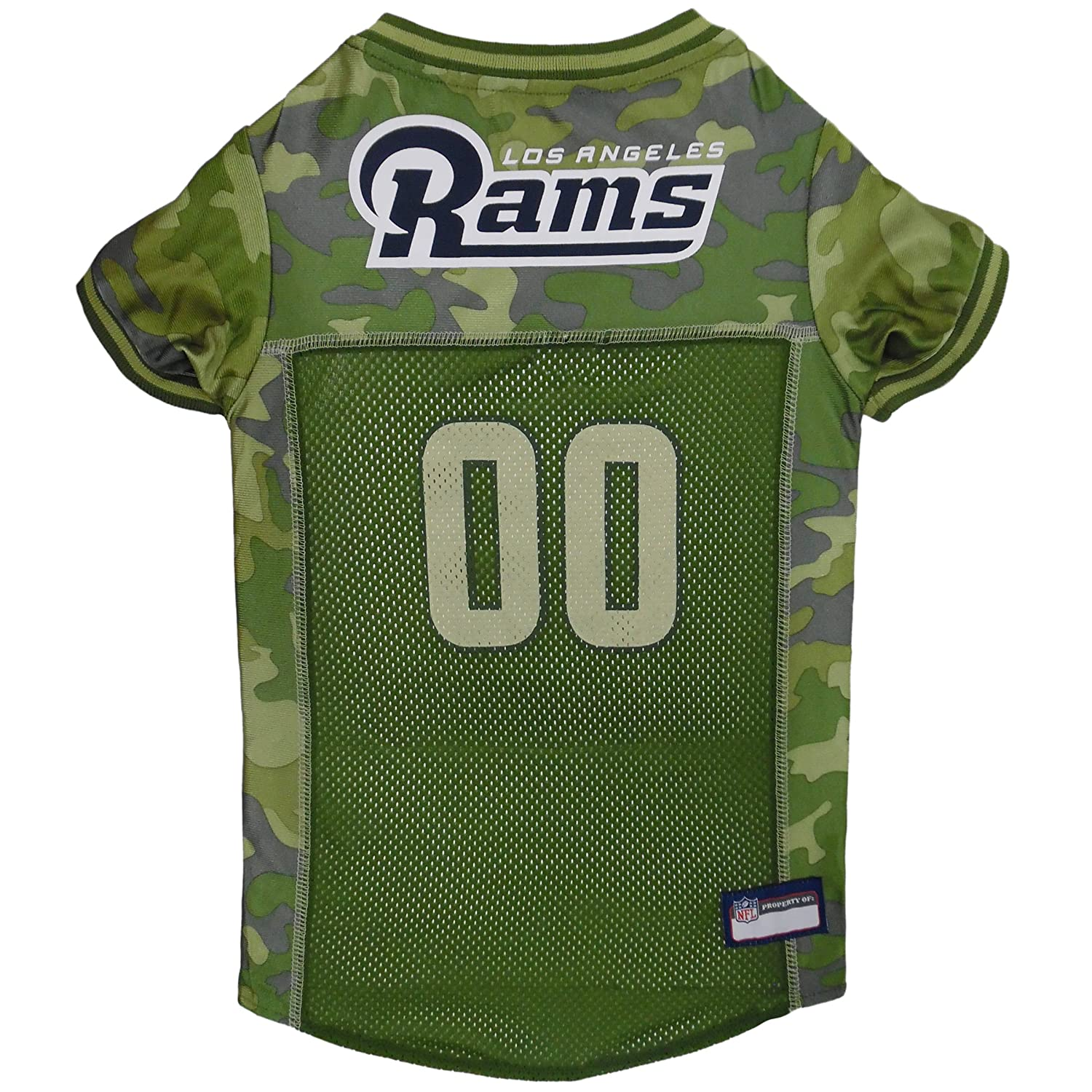 Large Pets First NFL Los Angeles RAMS Camouflage Dog Jersey, Large. CAMO PET Jersey Available in 5 Sizes & 32 NFL Teams. Hunting Dog Shirt