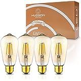LED Dimmable Vintage Edison Led Bulbs 4W Antique Style Edison Light Bulbs, 2200K Warm White (Amber Gold Glass), Dimmable Vintage Light Bulb - ST58 - E26 Base - Edison LED Bulb - 2 Year Warranty