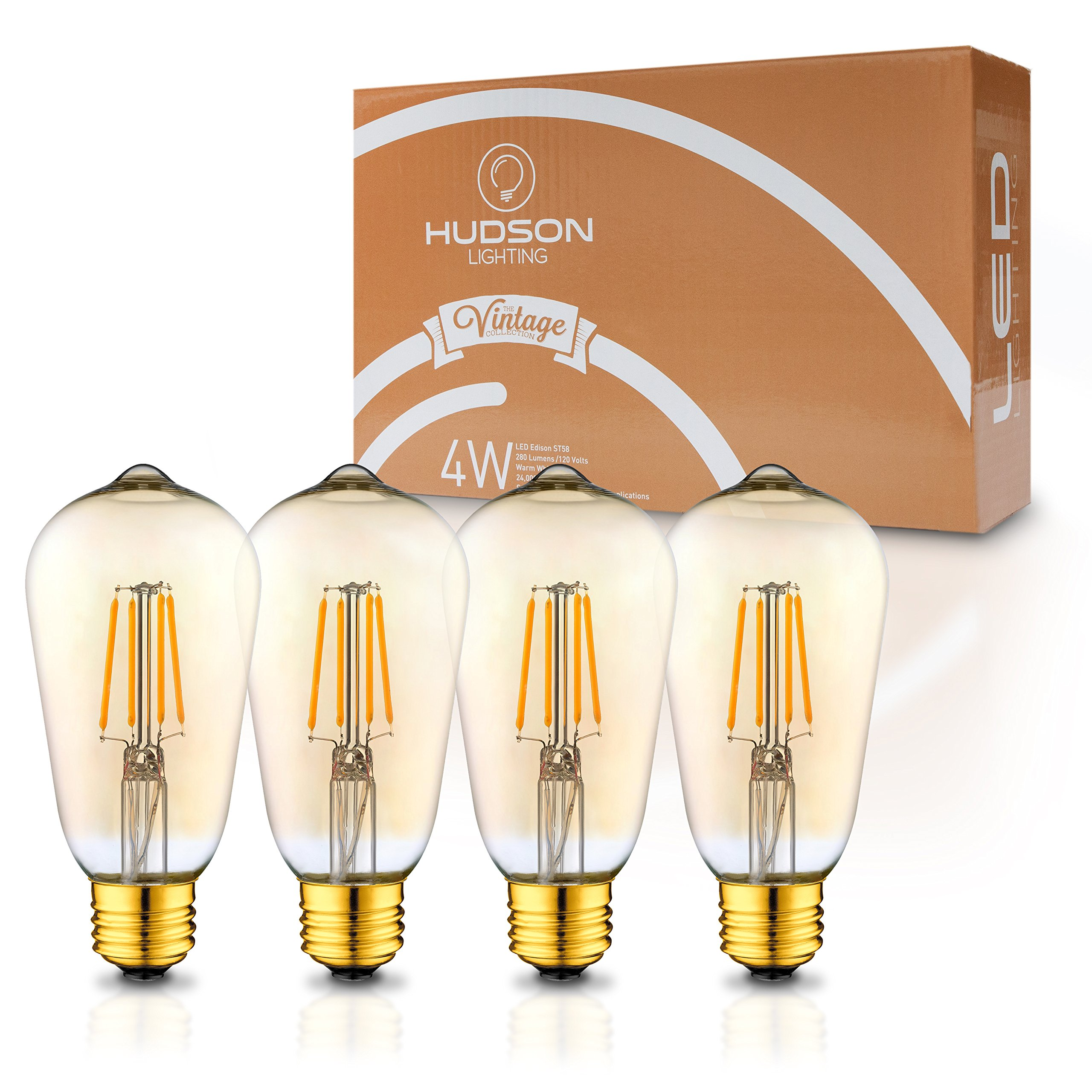 LED Dimmable Vintage Edison Led Bulbs 4W Antique Style Edison Light Bulbs, 2200K Warm White (Amber Gold Glass), Dimmable Vintage Light Bulb - ST58 - E26 Base - Edison LED Bulb - 2 Year Warranty by HUDSON LIGHTING