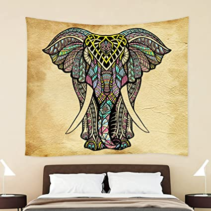 Amazon.com: HOKWAY Elephant Tapestry Polyester Fabric Art Decor Wall ...
