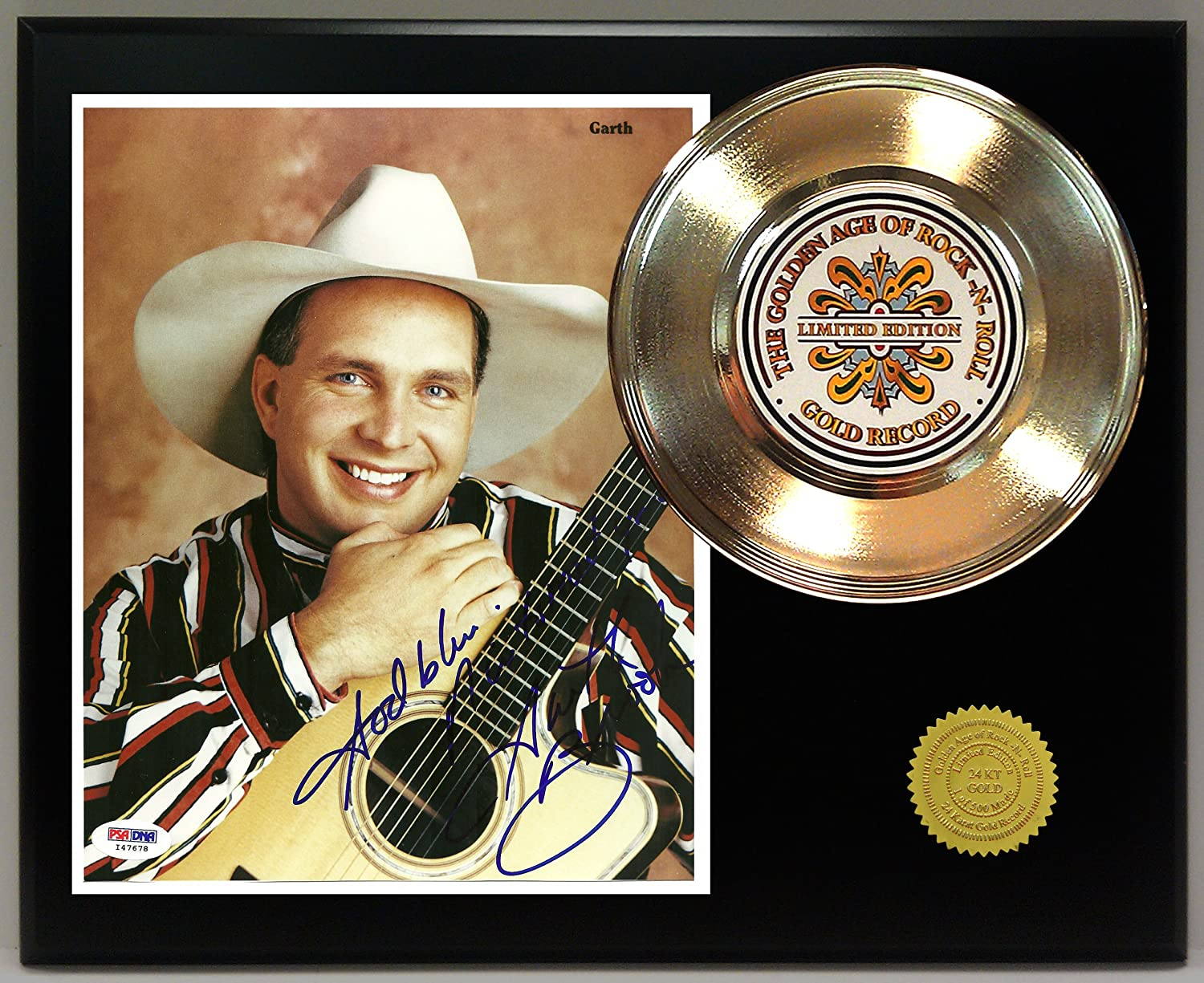 Garth Brooks Gold Record Signature Series LTD Edition Display Gold Record Outlet