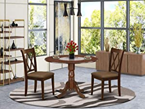 East West Furniture DLCL3-MAH-C 3-Pc Wood Set Mahogany Finish-Two 9-inch Drops Leave and Pedestal Legs dinette Table & 2 Double X-Back Kitchen Dining Chairs