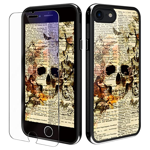 sale retailer f180e a6184 iPhone 8 case iPhone 7 Case, YiPG Flower Skull Phone Case, Anti-Scratch and  Water-proof, Protective Kit with Blue light filter (Eye-Protect) Tempered  ...