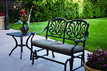 Darlee Elisabeth Cast Aluminum Bench Glider With Seat Cushions And 21 Inch  Square End Table
