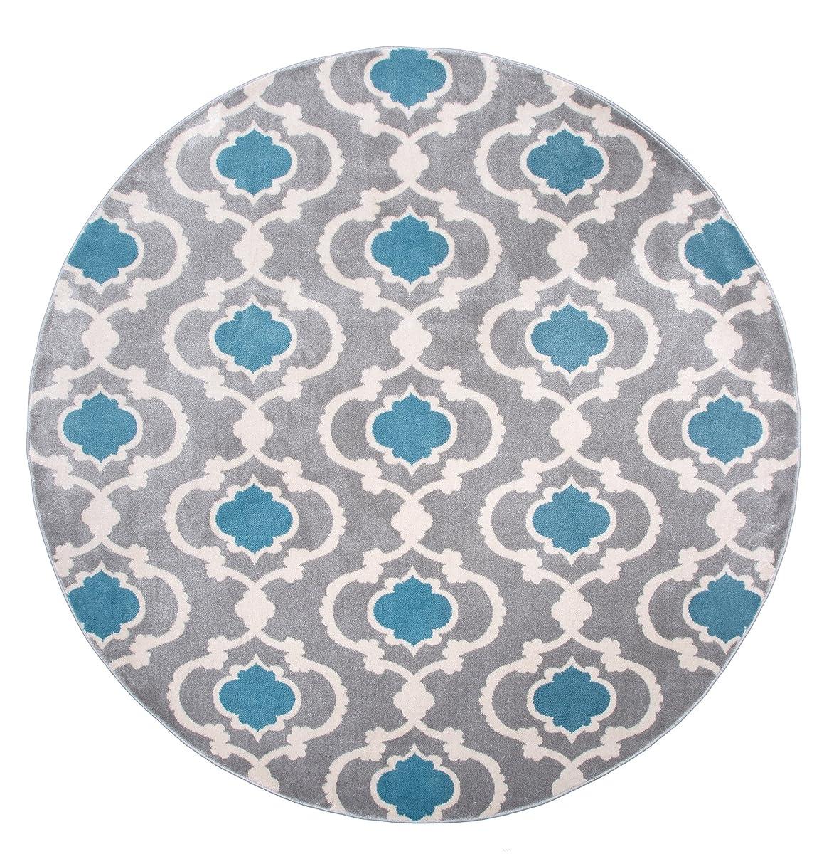 """Rugshop Moroccan Trellis Contemporary Indoor Round Area Rug, 6 6"""" Diameter, Gray/Blue"""