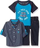 U.S. POLO ASSN. Baby Boys' Sport Shirt, Creeper and Pant Set