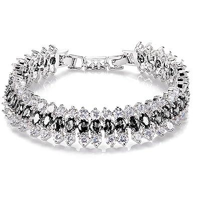 Comtex Ladys Bracelet Cubic Zirconia Crystals Diamond Sparkle Tennis Bracelet for Women Modern Elegance KGiRN