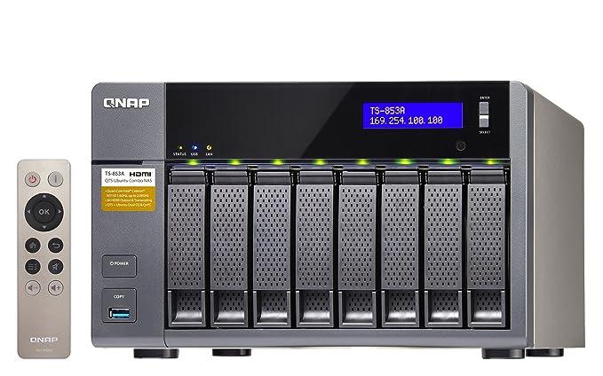 QNAP TS-853A Ethernet Torre Aluminio, Negro NAS - Unidad Raid (24 TB, Unidad de Disco Duro, Unidad de Disco Duro, SSD, Serial ATA III, 3000 GB, ...