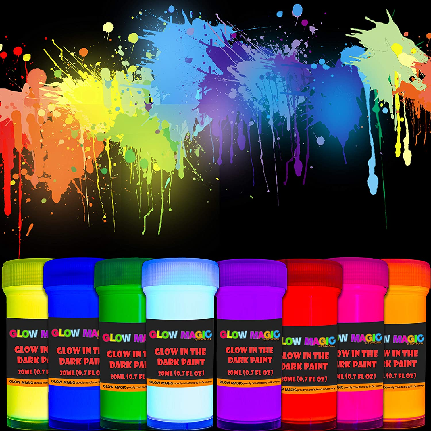 individuall Glow in The Dark Acrylic Paint Set - Self-Luminous Phosphorescent Glowing Neon Paint