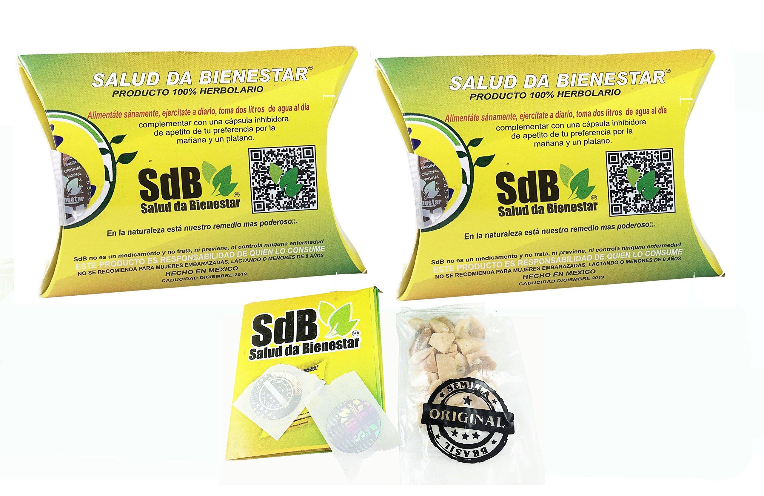 2 PACK Semilla de Brasil Brazil Seed Supplement for 6 Months of Use 100% Authentic Brasil Seed All Natural Supplement Pure Brazilian Nut la original para adelgazar de SdB Salud da Bienestar - 2 Month by SDB Salud da Bienestar