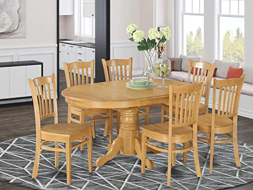 Amazon Com East West Furniture Dinette Set 6 Fantastic Wood Dining Chairs A Stunning Dinner Table Oak Color Wooden Seat Oak Butterfly Leaf Round Dining Table Furniture Decor