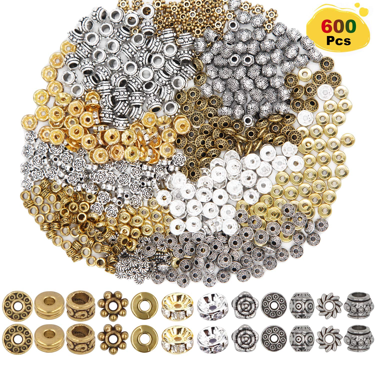 EuTengHao 600pcs Spacer Beads Jewelry Bead Charm Spacers Alloy Spacer Beads for Jewelry Making DIY Bracelets Necklace and Crafting (12 Styles,Silver and Gold) by EuTengHao