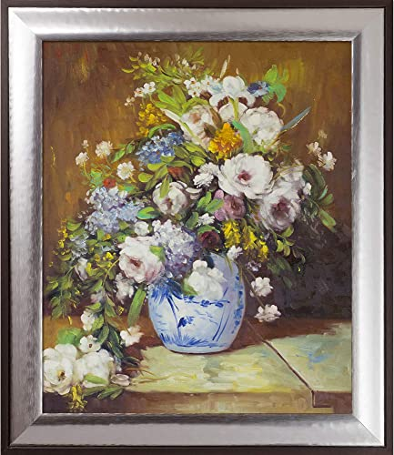 overstockArt Grande Vase Di Fiori by Pierre-Auguste Renoir Hand Painted Oil on Canvas with Brasovia Frame, 26.5 x 30.5 , Magnesium Frame, 29.25 x 25.25