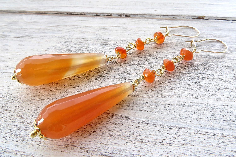 Pendientes de agate naranja y carnelia, pendientes de plata de ley 925 dorada, pendientes de lagrima, pendientes colgantes, joyas de piedras naturales, joyas modernas